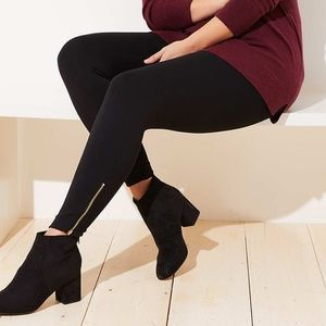 LOFT Plus Black Thick Leggings in Ankle Zip Pants